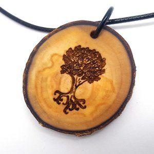 Oak Tree Wooden Pendant Necklace